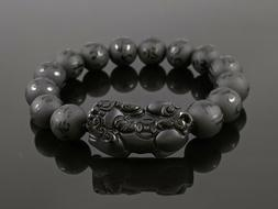 Natural Matte Black Obsidian 12mm Round Stone Bead Stretch B