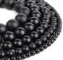 "Natural Matte Black Onyx Beads Genuine Smooth 15""Strand 4m"