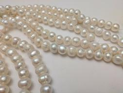 Natural Pearl Beads, Grade A, Potato, Ivory, 9-10mm, Hole 1m