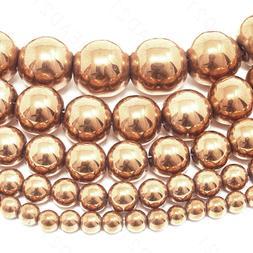 Natural Rose Gold Hematite Beads Round 4mm 6mm 8mm 10mm 12mm