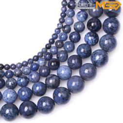 Natural Round Dark Blue Dumortierite Stone Semi Precious Bea