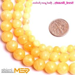 Natural Round Yellow Jade Stone Loose Beads For Jewelry Maki