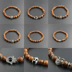 DouVei Natural Stone 8mm Wooden Beads Stretch Bracelets Char