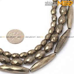 """Natural Stone Pyrite Gemstone Beads For Jewelry Making 15"""" F"""
