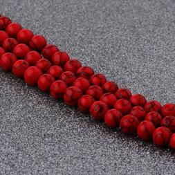 Natural Stone Red Turquoise Gemstone Round Spacer Loose Bead