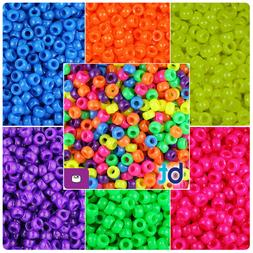 BeadTin Neon Bright 6.5mm Mini Barrel Pony Beads  - Color ch