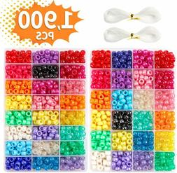 New Pony Beads, 1,900 pcs 9mm Pony Beads Set in 24 Colors wi