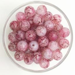 NEW 100PCS 4mm Glass Round Pearl Spacer Loose Beads Pattern