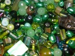 NEW 1/2 Lb  GREENS Random MIXED Loose Beads 6-15mm pearls, c