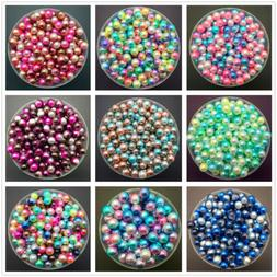 NEW 3/4/5/6/8mm Color Acrylic No Hole Round Pearl Loose Bead