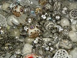 NEW 30/Pc White / Silver/ Gray Jesse James Beads LIMITED RAN