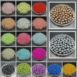NEW 4mm 6mm 8mm 10mm DIY Round Pearl Spacer Loose Acrylic Be