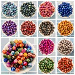 NEW 50PCS 8mm Double Color  Acrylic Round Pearl Loose Beads