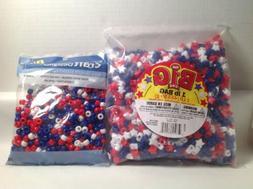 NEW Pony Beads RED WHITE & BLUE 1LB STAR SHAPE & 720 PATRIOT