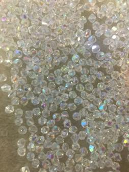 NEW! CLEAR AB  CRYSTAL GLASS LOOSE BEADS *** 3.5 mm - 4 MM *