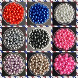 NEW DIY 4mm 6mm 8mm 10mm Acrylic No Hole Round Pearl Loose B