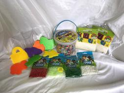 New - Lot of 10,000 Perler Beads in Bucket, Iron Paper and T