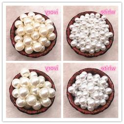 NEW NO Holes White Ivory Round Imitation Plastic Pearl Space