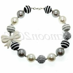 New Sweet White bow Chunky Beads Bubblegum Necklace for Kids