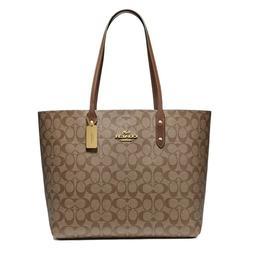 New COACH Town Tote Classic Canvas Shoulder Bag Luxury Khaki