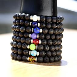 New Women Men Charm 8mm Natural Stone Beaded Stretch Fashion