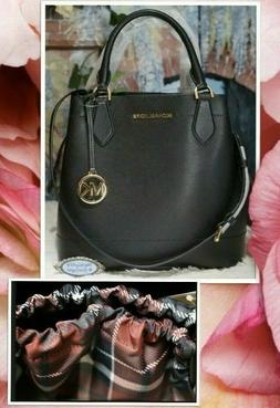 NWT MICHAEL KORS EDEN LARGE LEATHER BUCKET GRAB BAG In BLACK