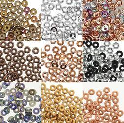 O-beads 3.8x1mm Czech Glass Beads 1.3mm Hole Mini Flat Donut