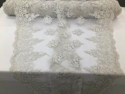 Off-White Beaded Fabric Embroidery Beads Fabric Lace Wedding