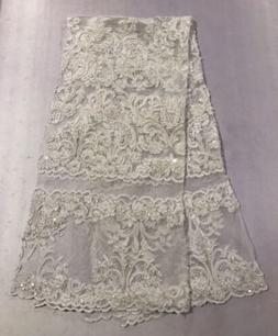 """Off White Corded Embroidery Sequins Beads Lace Fabric 50"""""""
