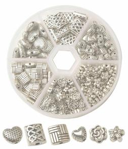 One Box 185p Antiqued Silver Metal Spacer Beads for jewelry