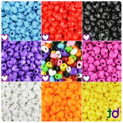 BeadTin Opaque 12mm Heart Pony Beads Vertical Holes  - Color