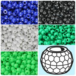 BeadTin Opaque 9mm Faceted Barrel Pony Beads  - Color choice