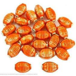 Orange Enamel Sterling Silver Oval Tube Beads Approx 24