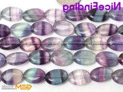 Oval Natural Rainbow Fluorite Crystal Gemstone Beads For Jew