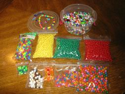 Over 2 Pounds Assorted Beads~Wooden~Letter~Shapes~Pony in Re