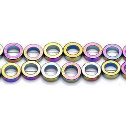 Packet 5 x Rainbow Hematite  12mm Hollow Circle Beads VP2880