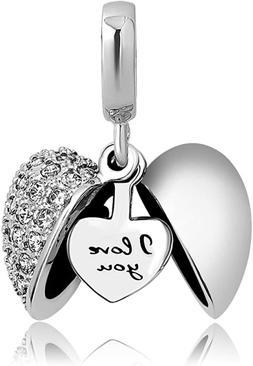 Pandora Charms Bracelet I Love You Heart Bead Women Valentin