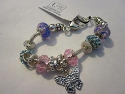 Pastel Beads & Butterfly CHARMS Silver Tone L&J Bracelet Rhi