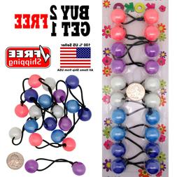 Pastel Colors Girls Kids Scrunchie Beads Hair Tie Ball Ponyt