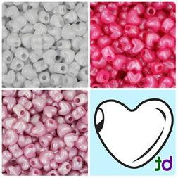 BeadTin Pearl 12mm Heart Pony Beads Horizontal Holes  - Colo