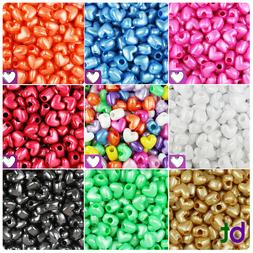 BeadTin Pearl 12mm Heart Pony Beads Vertical Holes  - Color