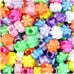 BeadTin Pearl 13mm Flower Pony Beads  - Color choice