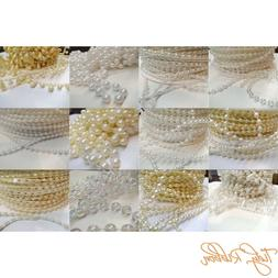 Pearls String Beads 2.5mm 3mm 4mm 8mm Drop Flatback Sewing W