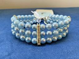 Pet Dog Collar Necklace Pearl Blue Beads Rhinestone Lobster
