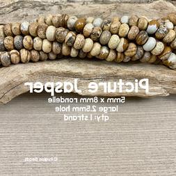 picture jasper large hole rondelle gemstone beads