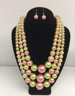 Pink and Green Pearl Beaded Multi Size 3 Layer Necklace with