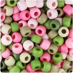 BeadTin Pink Camouflage Matte 9mm Barrel Pony Beads