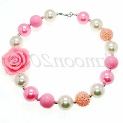Pink flowers Chunky Beads Bubblegum Necklace for Kids Chunky