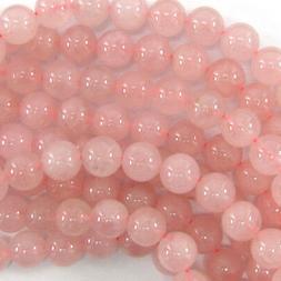 "Pink Rose Quartz Round Beads Gemstone 15"" Strand 4mm 6mm 8mm"