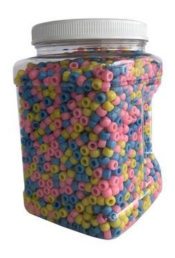 Plastic Pony Beads 6x9mm Bulk Set Opaque Over 3,000 Count Pi